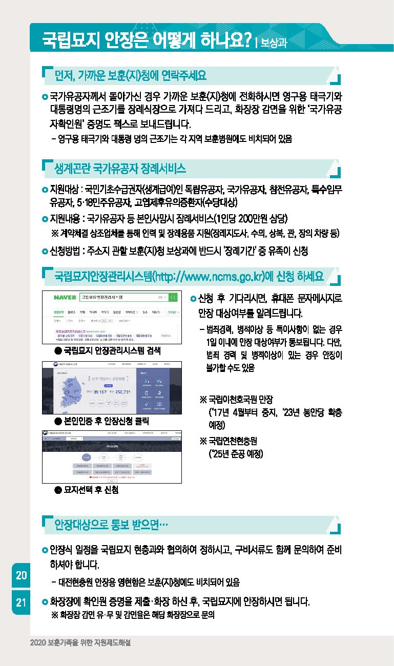 카드보훈정보 2020년 국가유공자 전공상군경 6~7급 혜택 보훈지원안내
